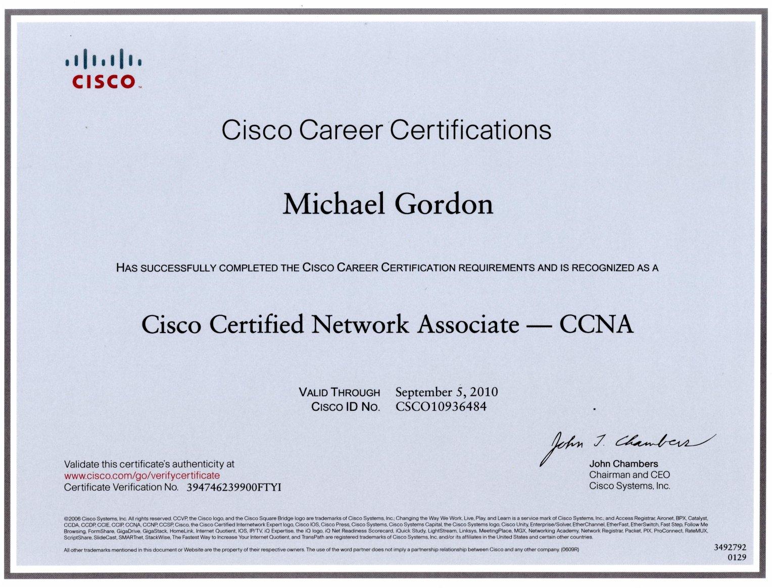 cisco ccna certificate